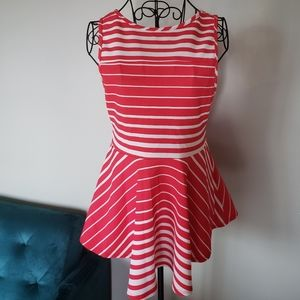 Pink and white striped peplem sleeveless top
